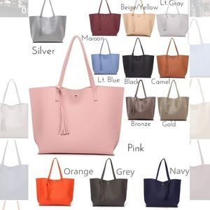 NWOT Tassel tote bag. Comment color choice.